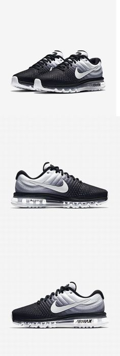 Athletic 15709: Nike Mens Air Max 2017 Running Shoes 849559 010 Black White  Size 9