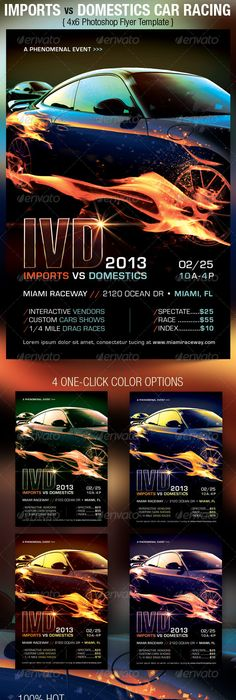 Car Race Flyer  Auto Auto Auto Racing And Flyer Template