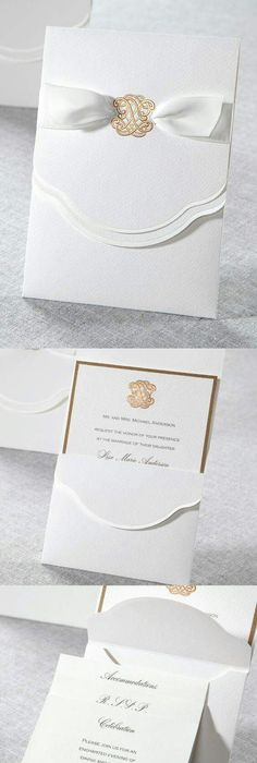 Vera Wang Engraved Gold Bordered Light Grey Wedding Invitation - fresh invitation box
