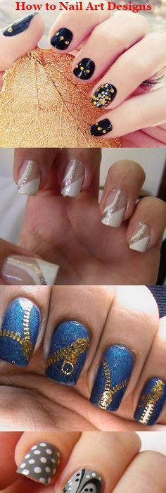 Gold Green Funky French Nails Nail Art Nails Nailart How To