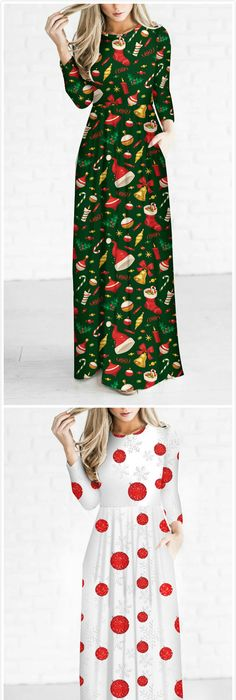 women s christmas decoration print round neck long sleeve maxi dress roawe com