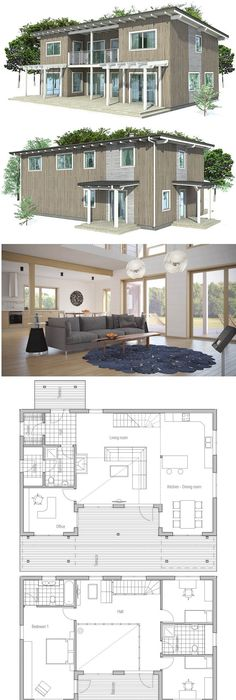 Small house plan with two bedrooms and spacious living room - plan de maison simple