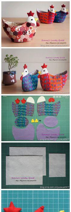 Easy tutorial for cute little fabric baskets i imagine it would be diy chicken flower pot cover diy chicken easy crafts diy ideas diy crafts do it yourself easy diy diy tips diy images diy photos easy diy craft ideas diy solutioingenieria Gallery