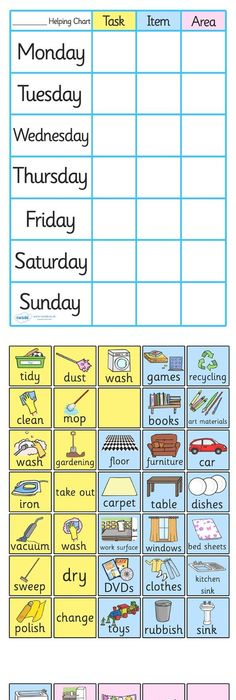 Chore Chart For Kids  Daily Chore Charts Chart And Printable