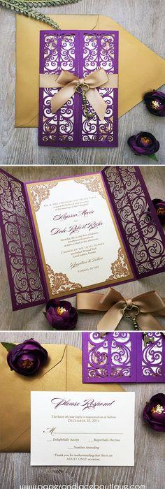 Gold wedding invitation, gold box invitation, gold metallic wedding - fresh invitation box