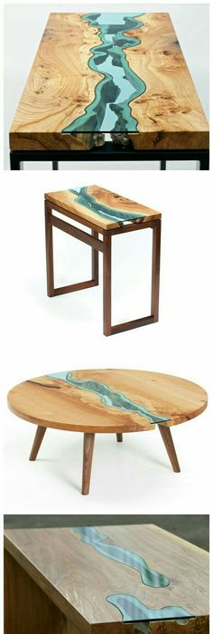 Captivating Fill In Barn Wood Holes On Top Of Tavis School Desk In Home Office ~ Wood  Tables Embedded With Glass Rivers By Greg Klassen Amazing Ideas