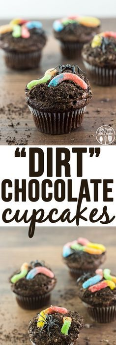 Brownie Bottom Halloween Cupcakes have a layer of dark chocolate - how to decorate cupcakes for halloween