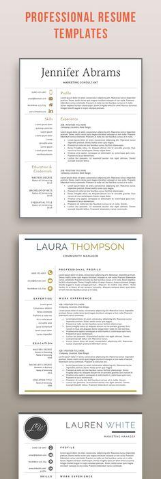 Modern Resume Template, Professional Resume Template, Professional - resume templates word mac
