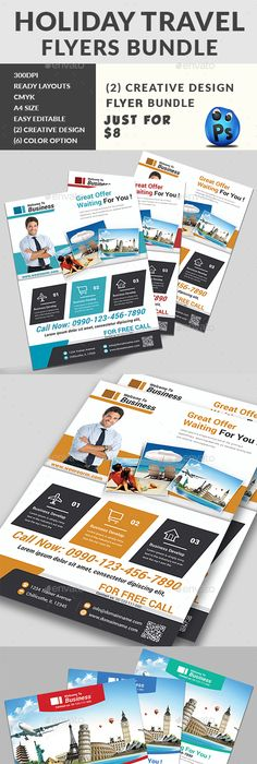Travel Agency Flyer  Text Color Fonts And Logos