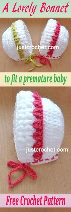Cute Baby Bonnet - Free Crochet Baby Bonnet Pattern   Crochet ...