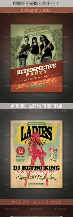 Vintage Night Party Flyer  Party Flyer And Fonts