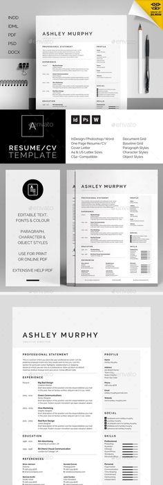 Beautiful Edgy Resume Template For Microsoft Word With Matching