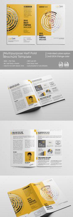 Corporate Bi-Fold Brochure 01 Print Design Pinterest Brochures - half fold brochure template