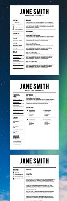 Resume Template Professional And Modern Resume  Cv Template For