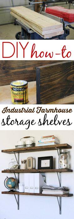 Diy Wood Shelf How To Tutorial Farmhouse Style Rustic Industrial Storage The Grain