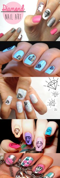 Funky Diamond Nail Art Design Ideas On Cool Sky Blue Nails Color