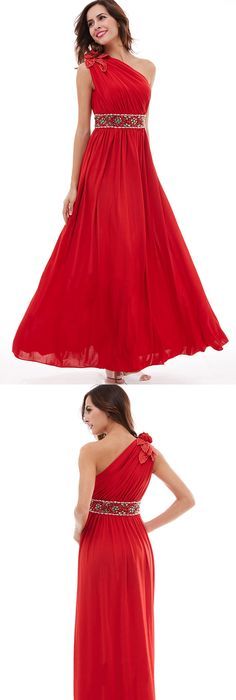 cheap 2018 prom dress red a line chiffon floor length