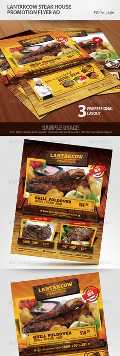Restaurant Flyer Vol01 Flyer layout, Flyer template and Template