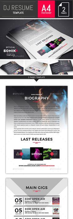 Musicians Resume Template Glamorous Dj  Musician Onepage Press Kit  Resume Template  Press Kits .