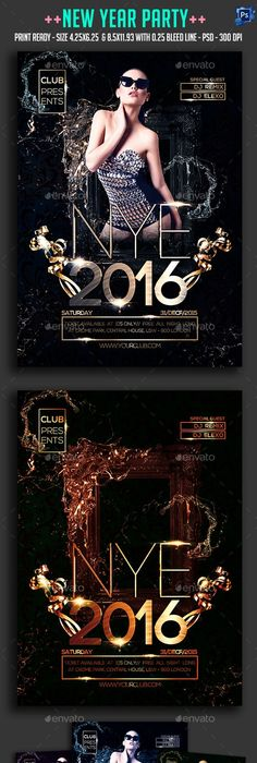 New Year  Gold Party Free Flyer Template  AfichesPoster