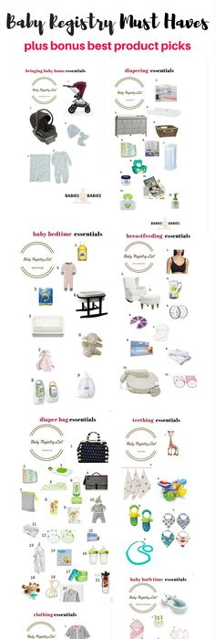 A thorough list of what to put on a baby registry! Separates the - baby registry checklists