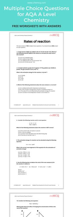 A Worksheet Aimed At Gcse And A Level Chemistry Students Which