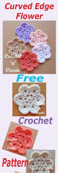 Small Flower Applique Free Crochet Pattern | Flower applique, Small ...