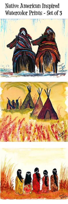 Native American Art, Indians Watercolor Painting, Riding Horses ...