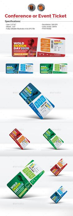 Conference or Event Ticket Template | Ticket template, Event ticket ...