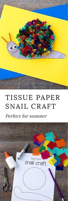 Rainbow Tissue Paper Snail Craft Summer ArtSummer CraftsKid