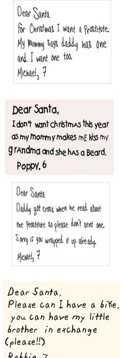 Funny Letters To Santa  Santa Hilarious And Funny Kid Letters