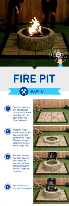Step by step flag stone fire pit outdoor decor for Step by step fire pit