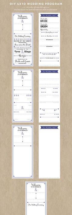 Wedding Program Template  Tea Length  Gray Leaf Monogram