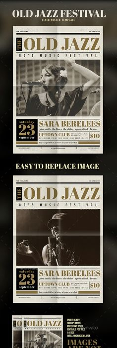 Jazz Nite Flyer Jazz, Event flyers and Fonts
