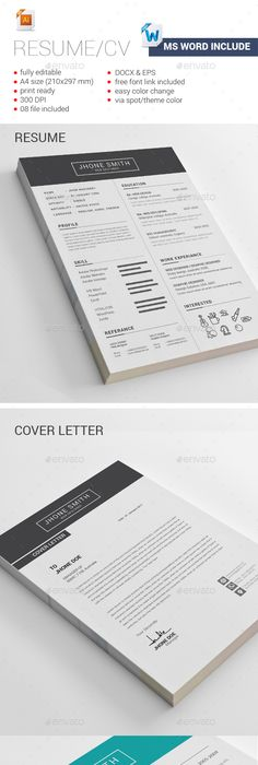 Two Page Resume Template - Resume Builder - CV Template + Cover