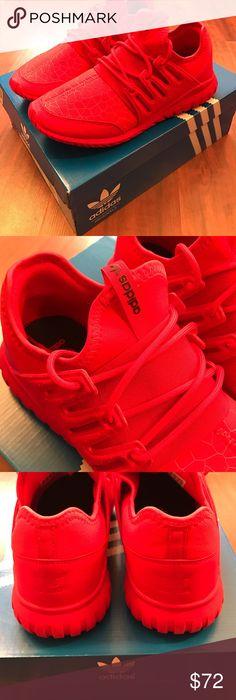 Adidas Tubular Radial Shoes ALL RED, brand NEW. Adidas Tubular Radial Youth  size 7
