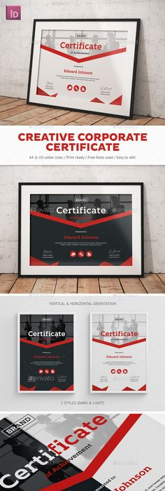 Fashion awards certificates ai illustrator certificate and template creative corporate certificate by snowboy creative corporate certificatehighly editable indesign certificate template yelopaper Image collections