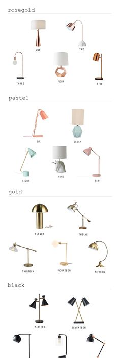 25 modern desk lamps for under 100 in mixed metals black pastels gold