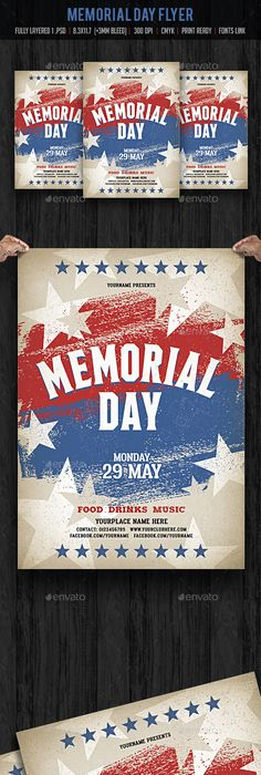 Memorial Day Flyer Template  Flyer Template Template And Font Logo