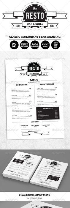 Menus Templates Free 세계적인 월드 베스트 레스토랑 메뉴판 그래픽디자인 #graphic #menu .