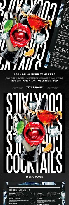 Bespoke fold menu design - Fiasco Design - a grouped images - bar menu template
