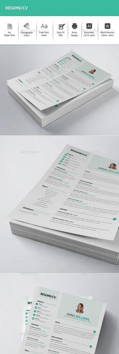 Resume \u2014 PSD Template #blue resume #clean cv \u2022 Download ➝