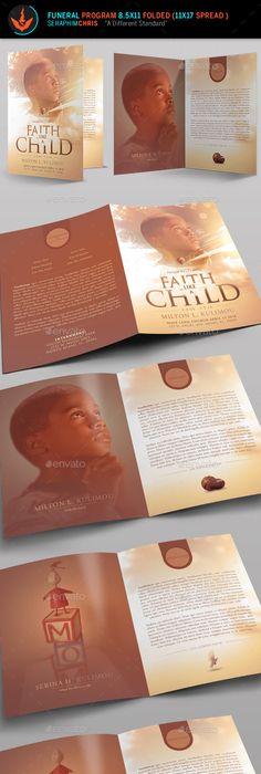 Boy Art Single Fold Memorial Program  Funeral Memorial Funeral And