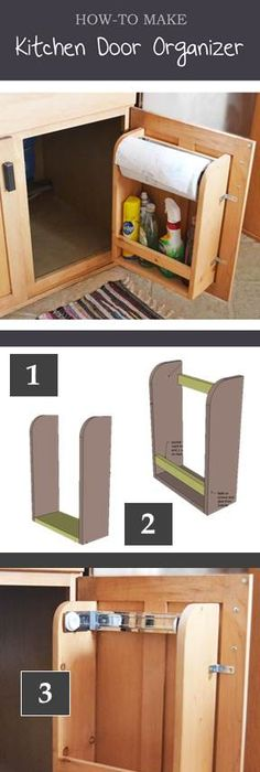How to build cool kitchen storage racks step by step diy tutorial how to make a kitchen cabinet door organizer for less than 10 free plans solutioingenieria Image collections