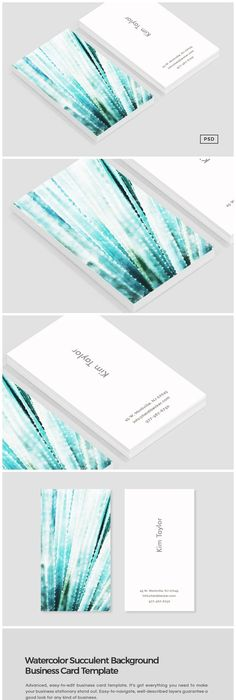 Cactus business card template card templates business cards and cacti introducing our watercolor succulent background business card template perfect for use in your next project accmission Image collections