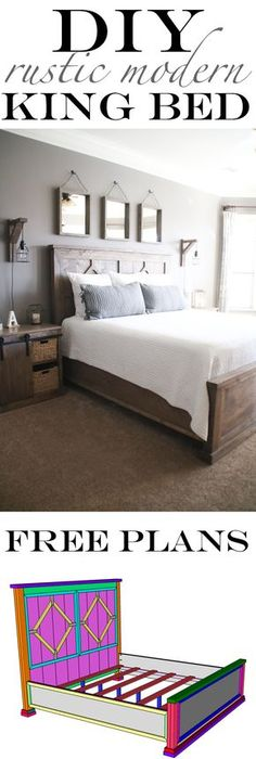 I built this 4 piece diy rustic modern king bed for less than 300 in