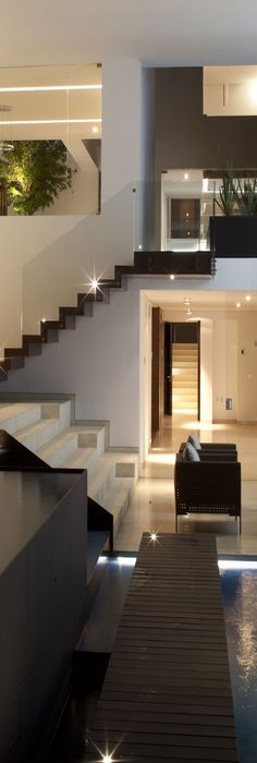 Gorgeous Home Design, Loving The Staircase With The Glass Which Compliments  The Water Features Beautifully   Casa Del Agua By Almazán Arquitectos  Asociados