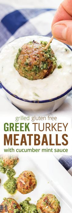 easy authentic greek turkey meatballs with cucumber mint sauce juicy grilled turkey meatballs paired with
