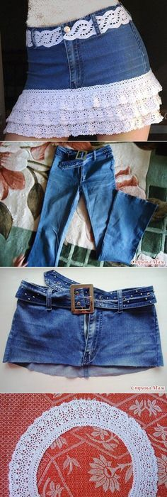 love these lace upcycled sweaters great inspirations diy easy denim skirt girly girls clothes skirt denim diy craft crafts easy crafts diy ideas diy crafts do it yourself easy diy clothing diy solutioingenieria Images