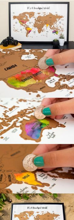 Scratch off world map with gold foil world travel tracker map its a beautiful world watercolor scratch map gumiabroncs Image collections